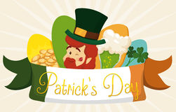 Cute Set of Traditional Elements of St. Patrick's Day Celebration, Vector Illustration. Special set of St. Patrick's Day elements: leprechaun elf, gold coins Stock Images