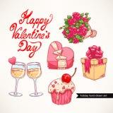 Cute set Valentine's Day - 2 Stock Photos