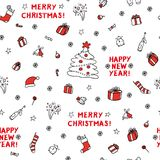 Cute set vector sketch seamless pattern of different xmas objects. Design background of greeting cards, website, gift. Wrap Christmas and new year. Style black Stock Photos
