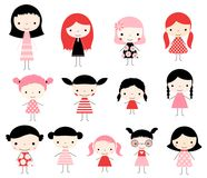 Cute set with vector stick figures girls. Cute set with vector stick figures. Cute girls in pink red and black colors for invitations and graphic design stock illustration