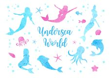 Cute set watercolor silhouettes of the mermaid, dolphin, octopus, fish and jellyfish. underwater world collection vector illustration