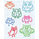 Cute seven owls on a checkered sheet. Set of seven cute color owls drawing on a checkered sheet, vector illustration Royalty Free Stock Photography