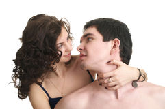 Cute sexual couple in love Stock Photos