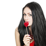 Cute Sexy Girl and Red Lollipop Royalty Free Stock Images