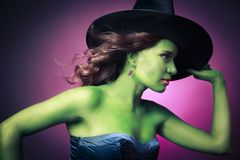 Cute and Sexy Halloween witch Stock Photo