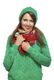 Cute sexy young woman in a green winter outfit Stock Images