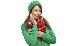 Cute sexy young woman in a green winter outfit Royalty Free Stock Image