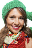 Cute sexy young woman in a green winter outfit Royalty Free Stock Photo