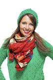 Cute sexy young woman in a green winter outfit Royalty Free Stock Images