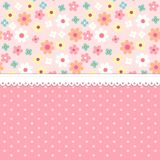 Cute shabby chic floral background for your decoration. Can be used as banner, card, invitation etc Stock Photo