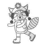 Cute shadow christmas raccoon cartoon Royalty Free Stock Photo