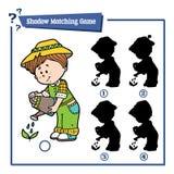 Cute shadow gardener game. Royalty Free Stock Image