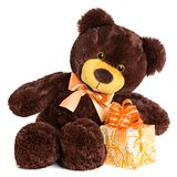 Cute shaggy smiling teddy bear with gift Royalty Free Stock Image