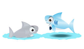 Cute shark with friend Royalty Free Stock Image