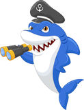Cute shark holding binocular Stock Photos