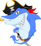 Cute shark pirate cartoon Royalty Free Stock Photo