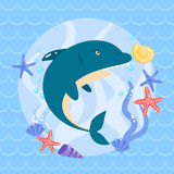 Cute shark with seastars and shells Royalty Free Stock Images