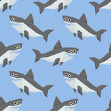 Cute Sharks Seamless Pattern Royalty Free Stock Photo
