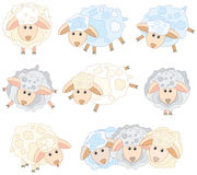 Cute sheep. Background is my creative hand drawing and you can use it for your design and etc., made in vector, Adobe Illustrator 8 EPS file Stock Image