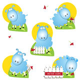 Cute sheep all day. Cute sheep vector illustration set Stock Image