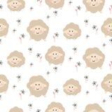 Cute sheep animal seamless vector baby pattern. vector illustration