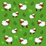 Cute sheep background. Illustration of cute sheep pattern with green background Royalty Free Stock Photo