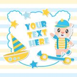 Cute sheep boy and toys frame cartoon illustration for baby shower card design. Postcard, and wallpaper stock illustration