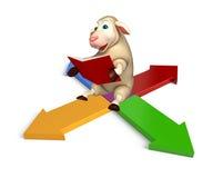 Cute Sheep cartoon character with books  and arrow Stock Photos