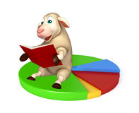 cute Sheep cartoon character with books  and circle sign Royalty Free Stock Photography