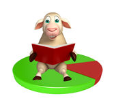 cute Sheep cartoon character with books  and circle sign Stock Photos