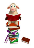 Cute Sheep cartoon character with books. 3d rendered illustration of Sheep cartoon character with books Royalty Free Stock Photos