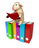 Cute Sheep cartoon character with books  and files. 3d rendered illustration of Sheep cartoon character with books and files Royalty Free Stock Images