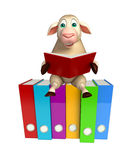 Cute Sheep cartoon character with books  and files. 3d rendered illustration of Sheep cartoon character with books and files Stock Photos