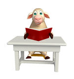 cute Sheep cartoon character with books and table and chair Royalty Free Stock Photo