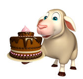 cute Sheep cartoon character with cake Royalty Free Stock Image