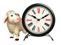 cute Sheep cartoon character with clock Royalty Free Stock Photo