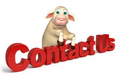 cute Sheep cartoon character with contact us sign Royalty Free Stock Image