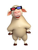cute Sheep cartoon character with 3D gogal Stock Photo