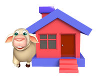 cute Sheep cartoon character with home Royalty Free Stock Photography