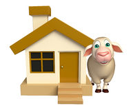 cute Sheep cartoon character with home Stock Photography