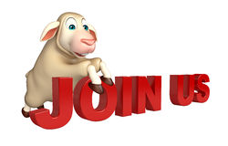 cute Sheep cartoon character  with join us sign Stock Photos