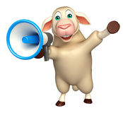 cute Sheep cartoon character with loud speaker Stock Image