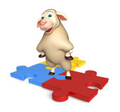 cute Sheep cartoon character with puzzle Stock Photos