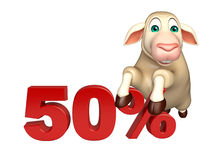 Cute Sheep cartoon character  with 50% sign. 3d rendered illustration of Sheep cartoon character with 50% sign Royalty Free Stock Photography