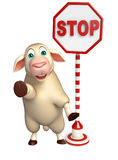 cute Sheep cartoon character  with stop sign Stock Photo