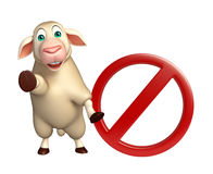 cute Sheep cartoon character  with stop sign Royalty Free Stock Image