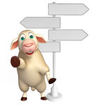 cute Sheep cartoon character with way sign Stock Images