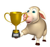 Cute Sheep cartoon character with winning cup Royalty Free Stock Image