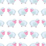 Cute sheep Cartoon Flat Vector Sticker or Icon. Seamless pattern of funny cute curly lamb or sheep flat vector cartoon sticker outlined with dotted line isolated Royalty Free Stock Photo