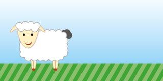 Cute sheep cartoon with green grass and blue sky Stock Photos